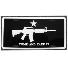 Black Come and Take It License Plate
