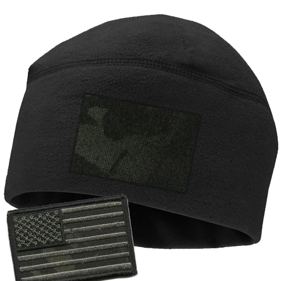 Black Watchcap with Camo loop & Free Multicam-Black Flag Patch