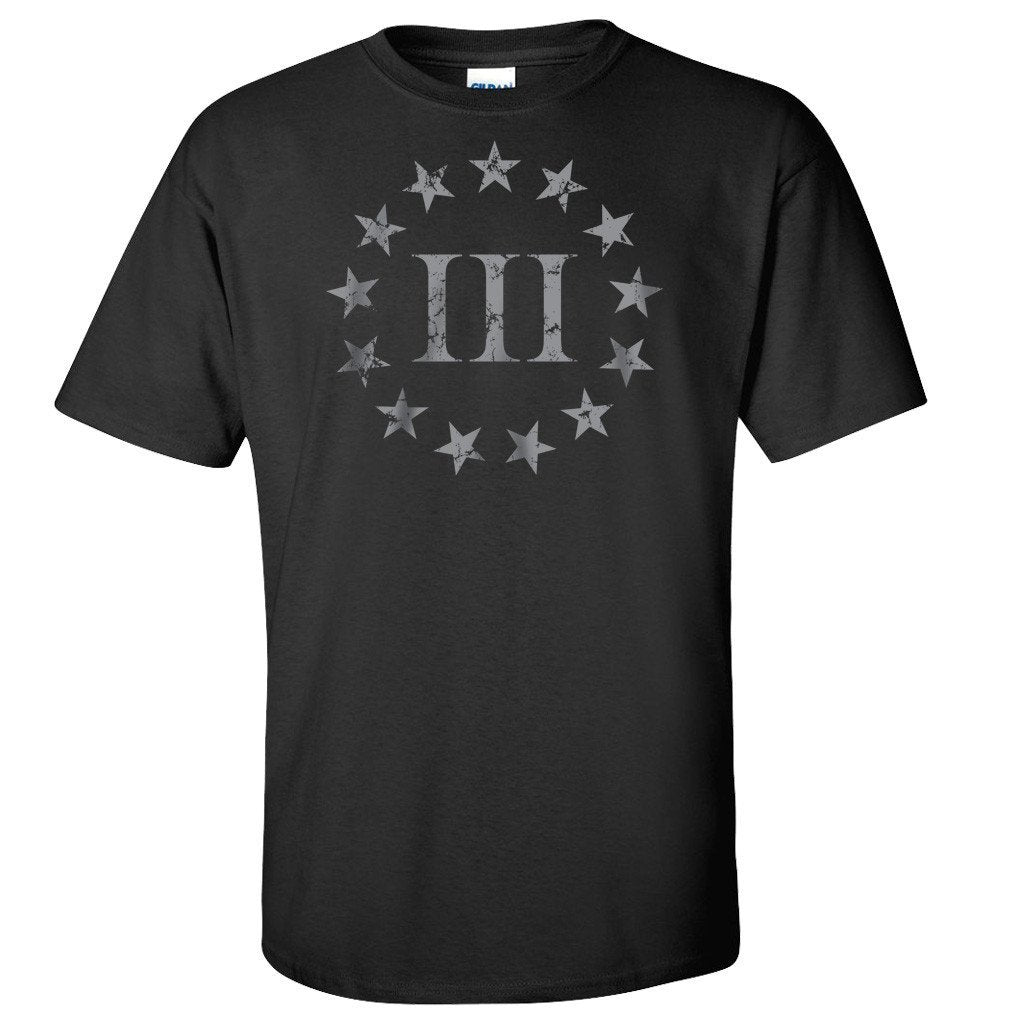 Three Percenter Front Print - Black T-Shirt