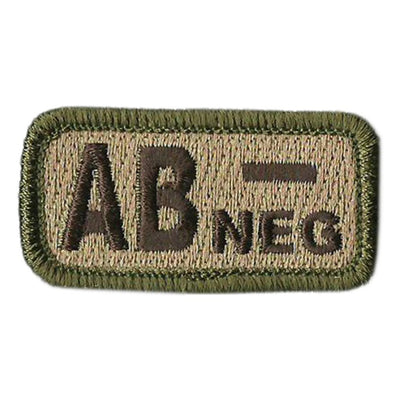 "Blood Type Patches - Type AB Negative - 2"" x 1"""
