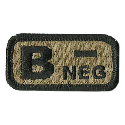 "Blood Type Patches - Type B Negative - 2"" x 1"""