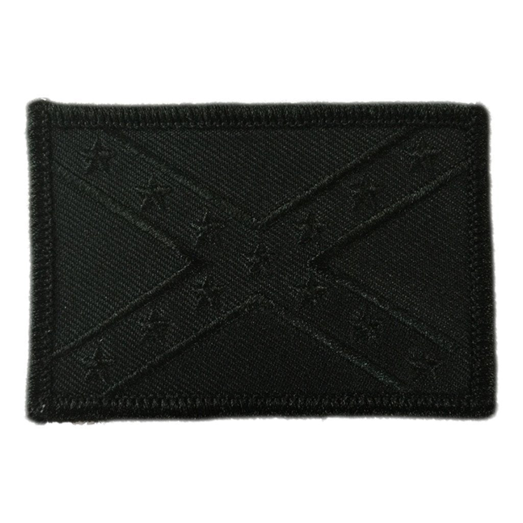 "2"" x 3"" All-Black Confederate Flag Tactical Patch"