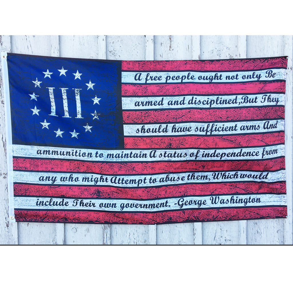 3 x 5 Ft Betsy Ross Geo. Washington Arms Vintage Flag
