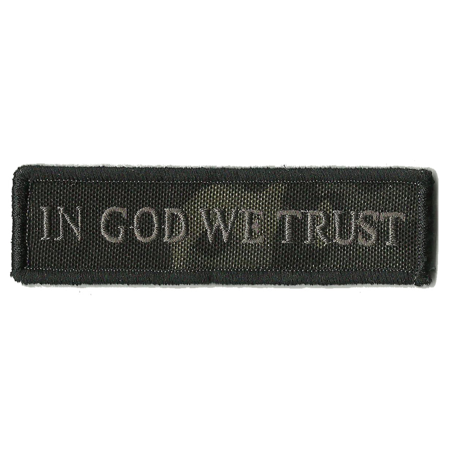 "MULTICAM-Black - In God We Trust Morale Patch- 1"" x 3 3/4"""