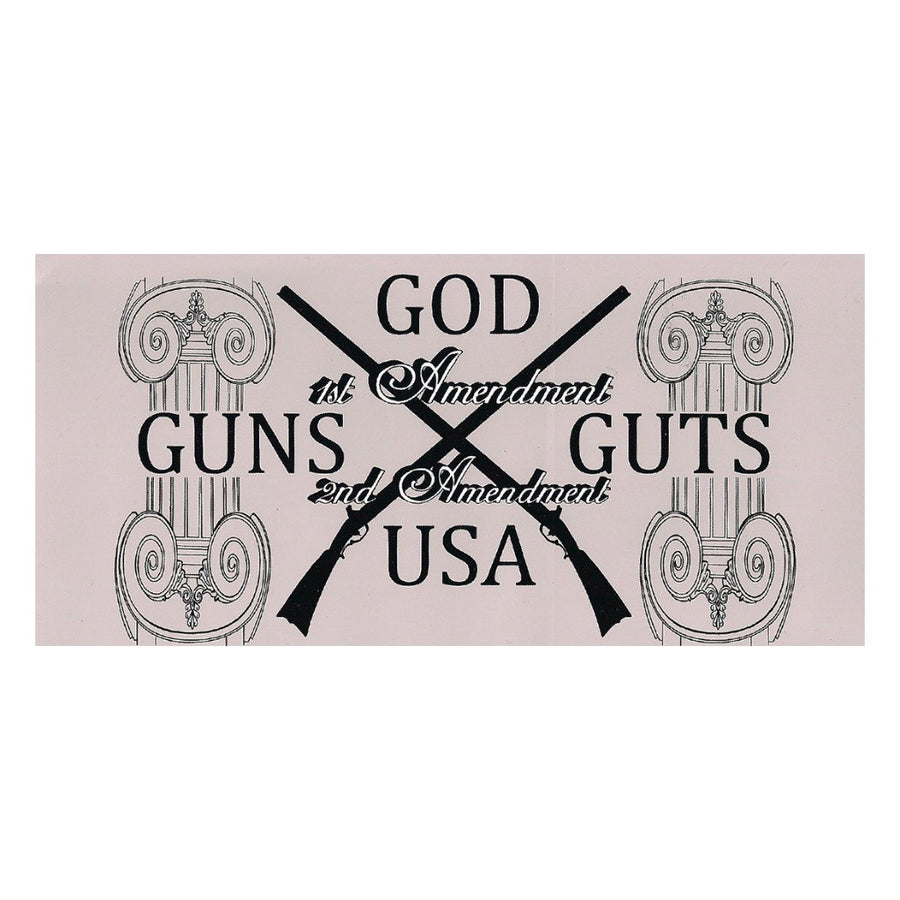 "God Guns Guts 2A Sticker - 4""x8"""