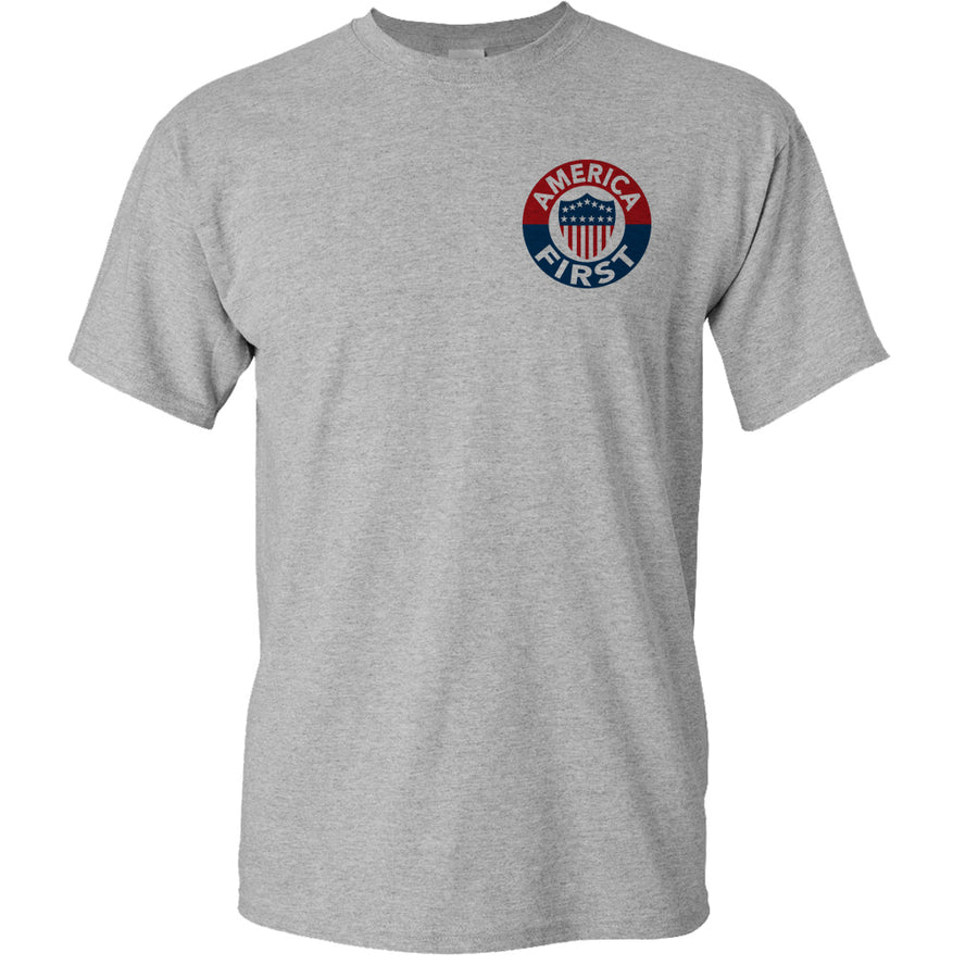 America First! - Athletic Grey T-Shirt 100% Made in USA