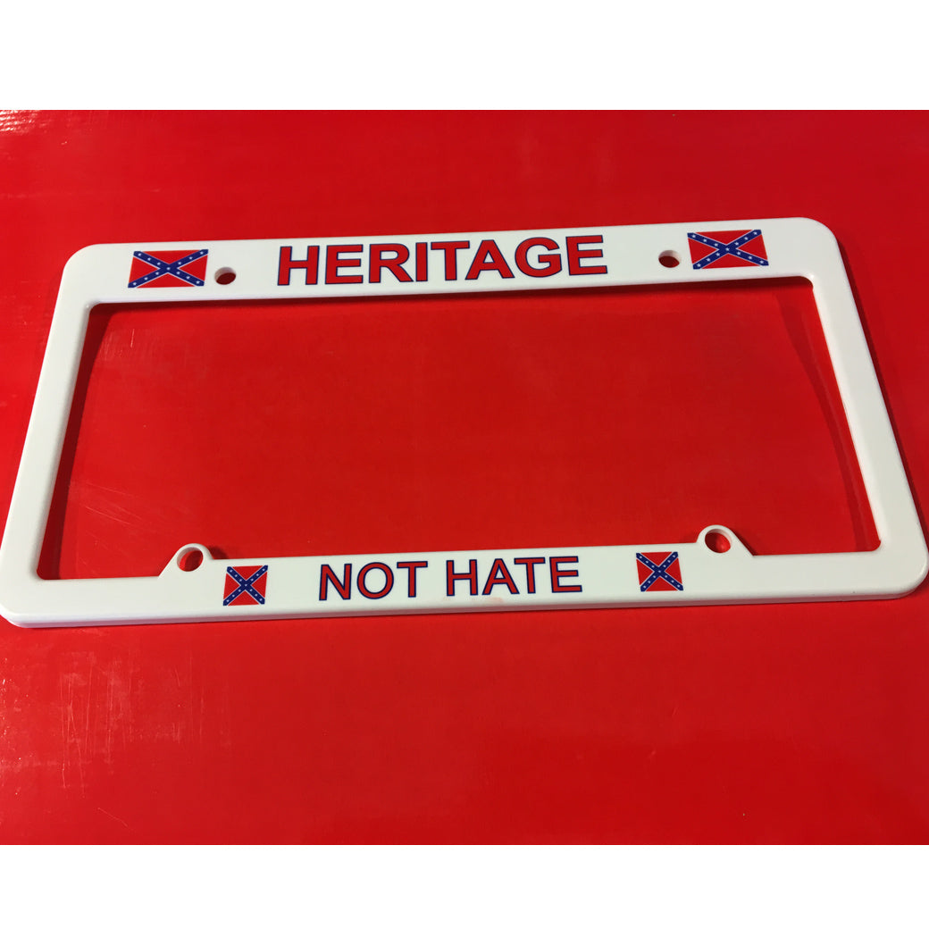 Heritage Not Hate Auto License Plate Frame (White)