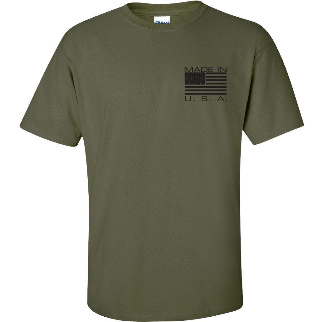 Made in usa mil green t shirt back printed gadsden and for Sustainable t shirt printing