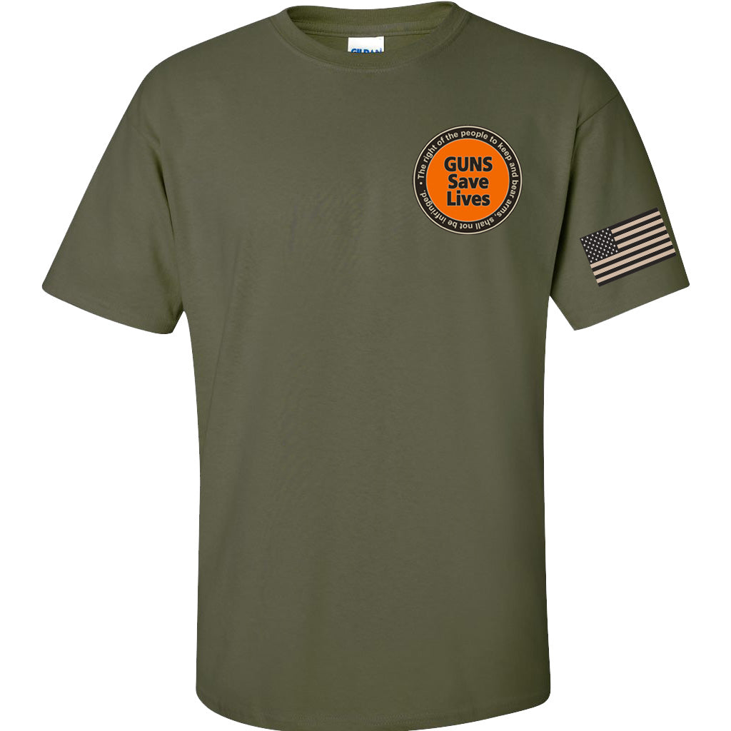 Mil-Green Guns Save Lives T-Shirt