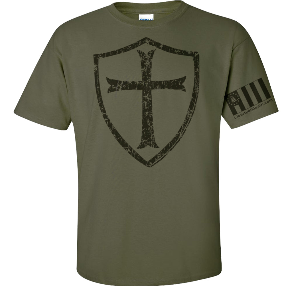 Crusader Cross T-Shirt w Sleeve Print - Military Green