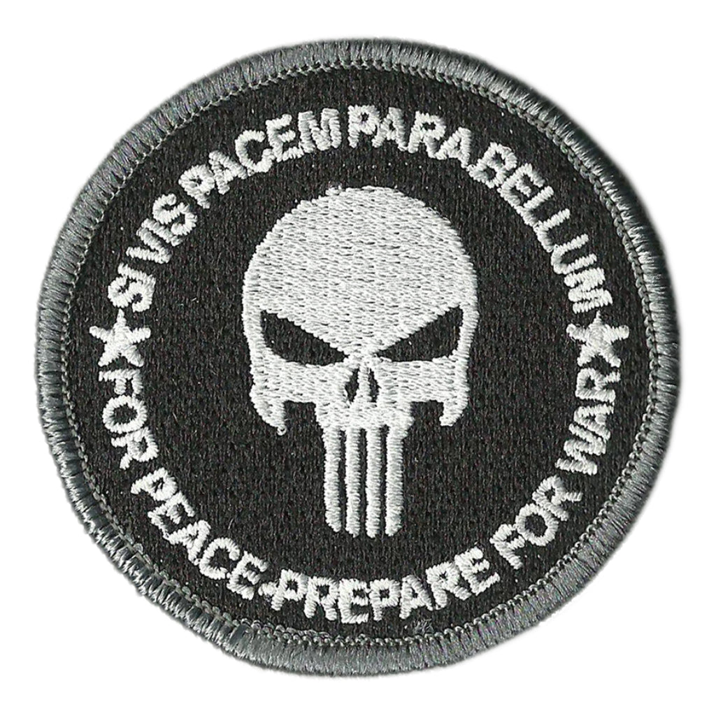 "3"" Skull Circle Patch - Si Vis Pacem Parabellum - For Peace - Prepare For War"