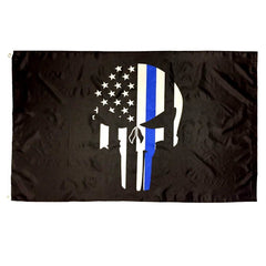 3x5 ft Blue Line Punisher Super-Poly Flag
