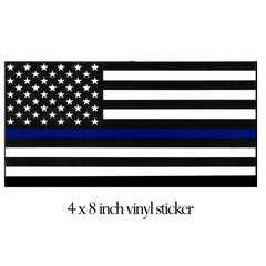 "USA Thin Blue Line 4x8"" Bumper Sticker"