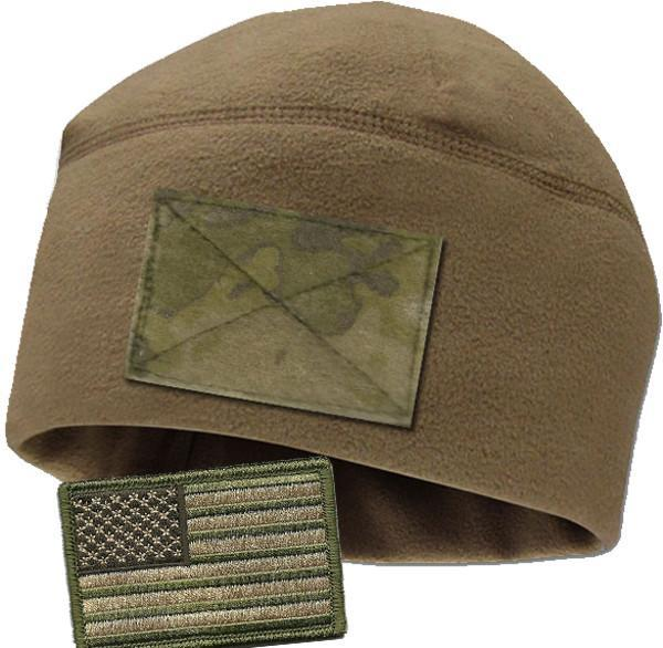 Coyote Watchcap with Camo loop & Free Multitan Flag Patch