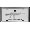 Come and Take it License Plate - White