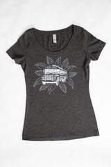 French Broad Chocolate Scoop Neck Bus T-Shirt