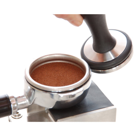 Convex Espresso Tamper Base with Knock Ring - showing how the tamper base is used - at Total Espresso