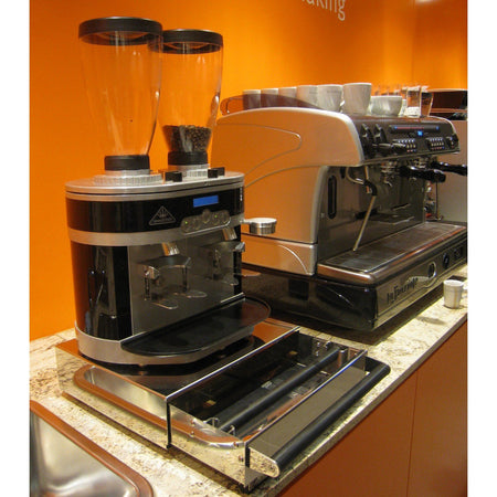 Commercial Knock Box Drawers - model Large shown with Mahlkonig Twin K30 grinder on top - at Total Espresso
