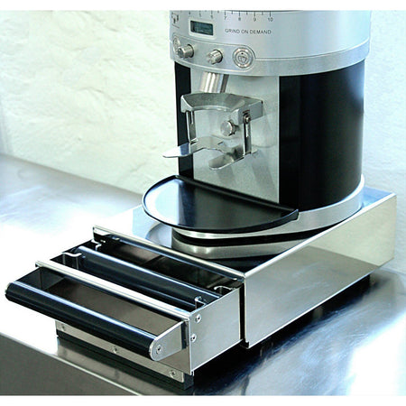 Commercial Knock Box Drawers - model Small with Mahlkonig K30 grinder on top - at Total Espresso