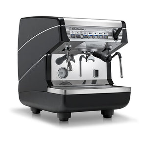 Nuova Simonelli Appia II Volumetric Commercial Espresso Machine - 1 group black front view - at Total Espresso