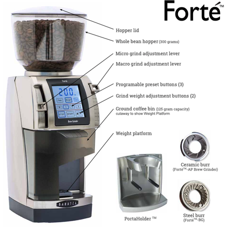 Baratza Forté-AP Coffee Grinder – Stepped, Doserless, 54 mm Flat Burrs - features - at Total Espresso