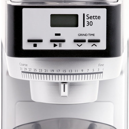 Baratza Sette 30AP – Conical Burr, Stepped, Doserless Espresso Grinder - front view detail - at Total Espresso
