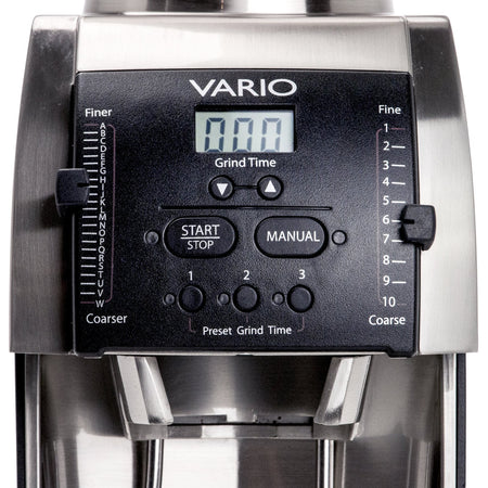Baratza Vario Coffee Grinder – Flat 54 mm Burr, Stepped, Doserless - control panel display detail - at Total Espresso