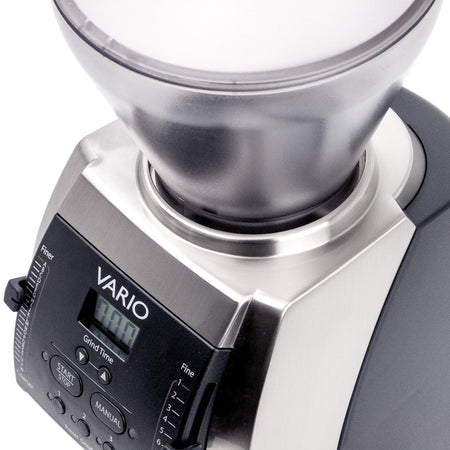 Baratza Vario Coffee Grinder – Flat 54 mm Burr, Stepped, Doserless - bean hopper detail - at Total Espresso