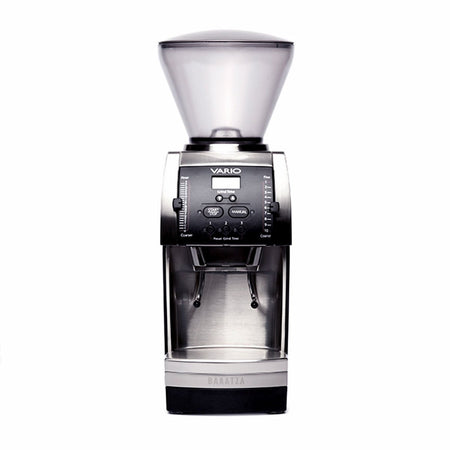 Baratza Vario Coffee Grinder – Flat 54 mm Burr, Stepped, Doserless - front view - at Total Espresso