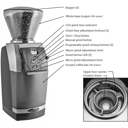 Baratza Vario Coffee Grinder – Flat 54 mm Burr, Stepped, Doserless - grinder features - at Total Espresso