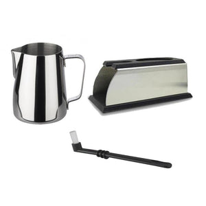 Beginner Barista Kit - consisting of a 12 ounce stainless steel frothing pitcher, tamping stand, and group head cleaning brush - at Total Espresso