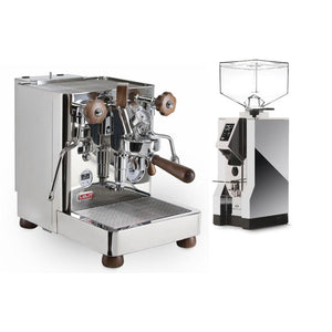 COMBINATION DEAL - Lelit Bianca Pressure Profiling Dual Boiler Espresso Machine and Eureka Mignon Specialita in chrome body with chrome chute - at Total Espresso