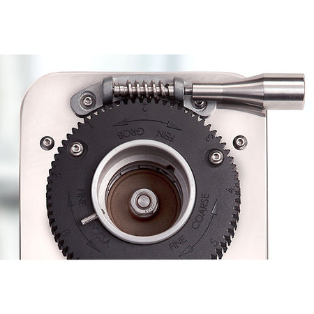 ECM S-Manuale 64 Espresso Grinder – Stepless, Doserless, 64 mm Burrs - grind adjustment detail - at Total Espresso