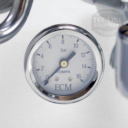 ECM Germany Classika Espresso Machine - Single Boiler, PID, Reservoir - pressure gauge detail - at Total Espresso