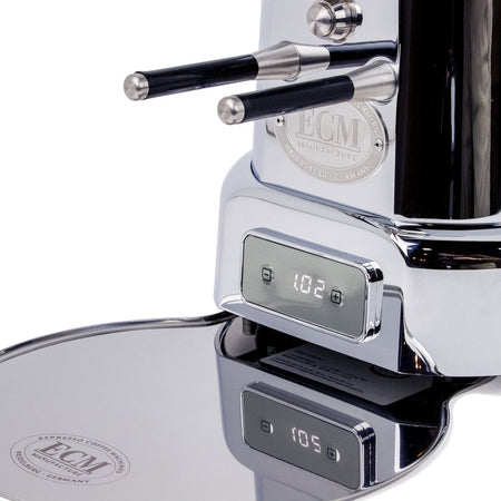 ECM V-Titan 64 Espresso Grinder – Stepless, Doserless, 64mm Burrs - timer details - at Total Espresso