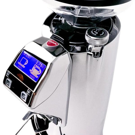 Eureka Olympus KR E Commercial Espresso Grinder – grind adjustment and LCD screen detail  - at Total Espresso
