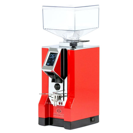 Eureka Mignon Specialita Stepless Doserless Coffee Grinder - Red body with chrome chute - at Total Espresso