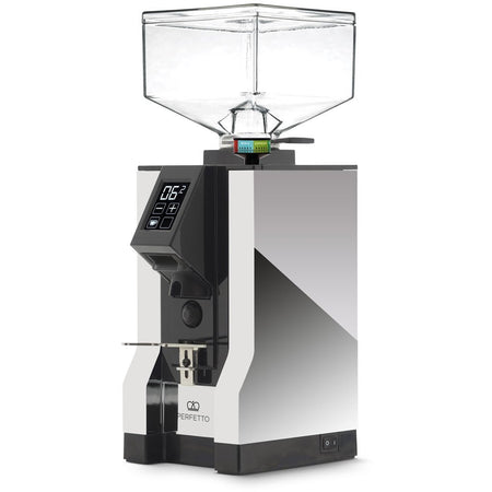 Eureka Mignon Perfetto Stepless Doserless Coffee Grinder - Chrome body with black chute - at Total Espresso
