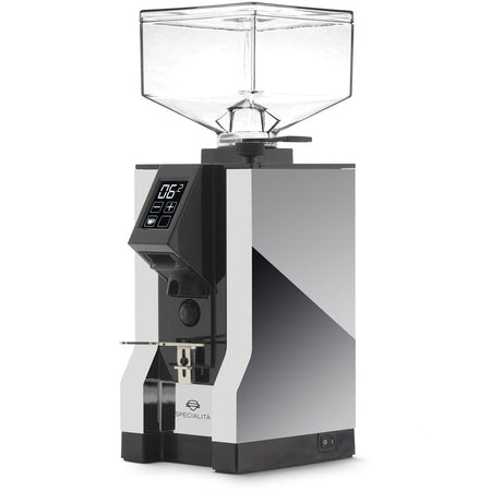 Eureka Mignon Specialita Stepless Doserless Coffee Grinder - Chrme body with black chute - at Total Espresso