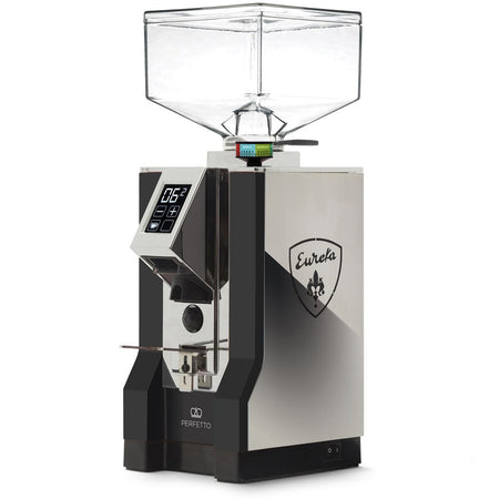 Eureka Mignon Perfetto Stepless Doserless Coffee Grinder - Black body with chrome overlay and  chrome chute - at Total Espresso