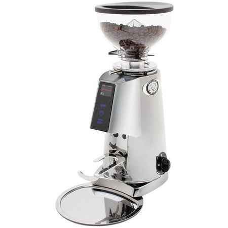 Fiorenzato F4E Nano V2 Electronic Espresso Grinder - shown in chrome - at Total Espresso