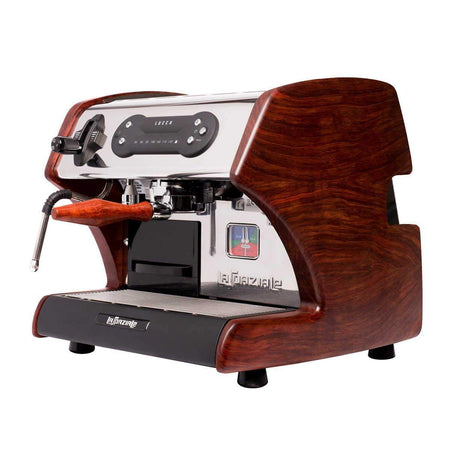 LUCCA A53 Mini – Double Boiler, Tank, Vibration Pump Espresso Machine - bubinga wood side panels - at Total Espresso