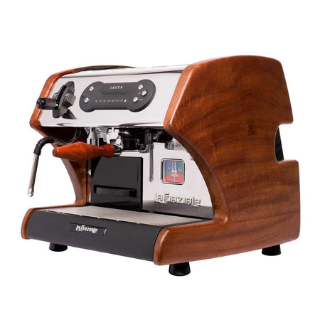 LUCCA A53 Mini – Double Boiler, Tank, Vibration Pump Espresso Machine - mahogany side panels - at Total Espresso