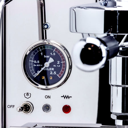 LUCCA M58 V2, Double Boiler, Switchable, PID Espresso Machine - boiler pressure gauge detail - at Total Espresso