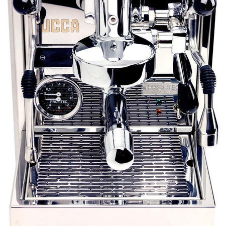 LUCCA S58 Dual Boiler, Switchable, PID Espresso Machine - front detail - at Total Espresso
