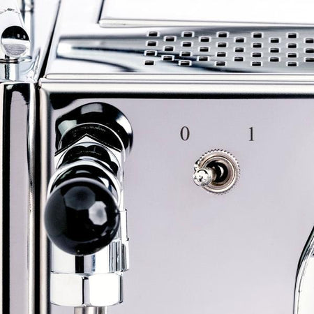 LUCCA X58 Espresso Machine - joystick steam knob and power switch detail - at Total Espresso