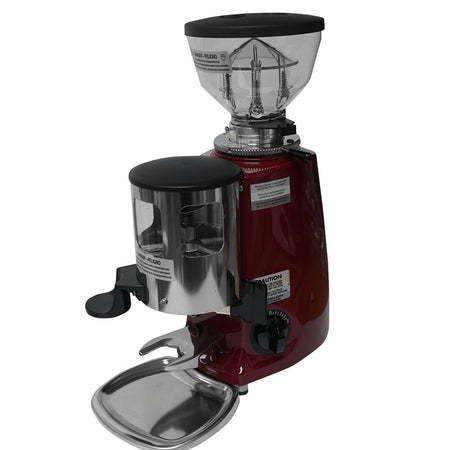 Mazzer Mini Espresso Grinder –Stepless, Doser, 58 mm Flat Burr - Dark Red - at Total Espresso