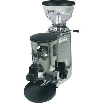 Mazzer Mini Espresso Grinder –Stepless, Doser, 58 mm Flat Burr - Polished aluminum - at Total Espresso