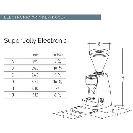 Mazzer Super Jolly Espresso Grinder – electronic Dimensions chart - at Total Espresso