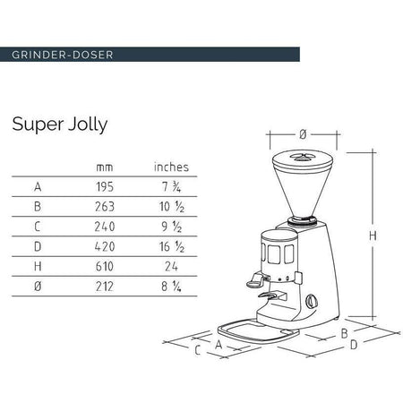 Mazzer Super Jolly Espresso Grinder - Stepless, Doser, 64 mm Burrs - dimensions - at Total Espresso